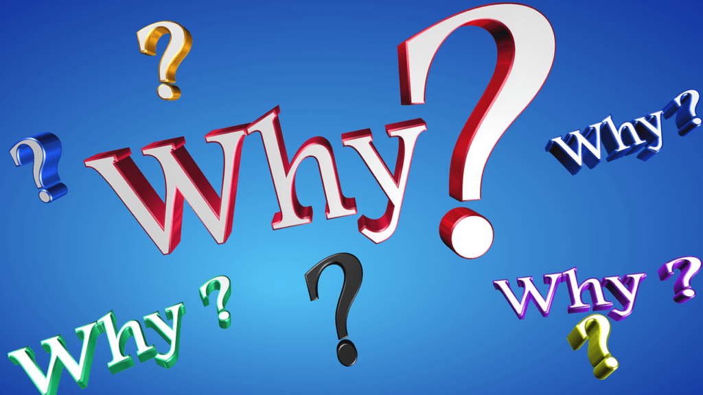 Image showing several different versions of the word why followed by question marks