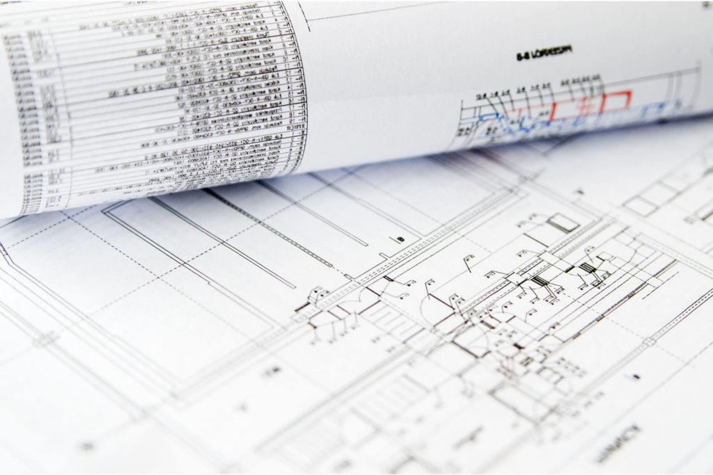 Close-up view of building construction plans