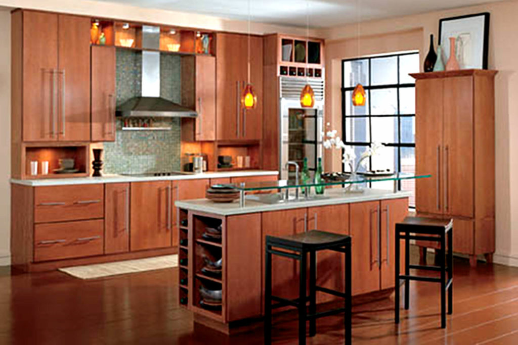 A kitchen featuring Wellborn Select Series Urban cabinetry