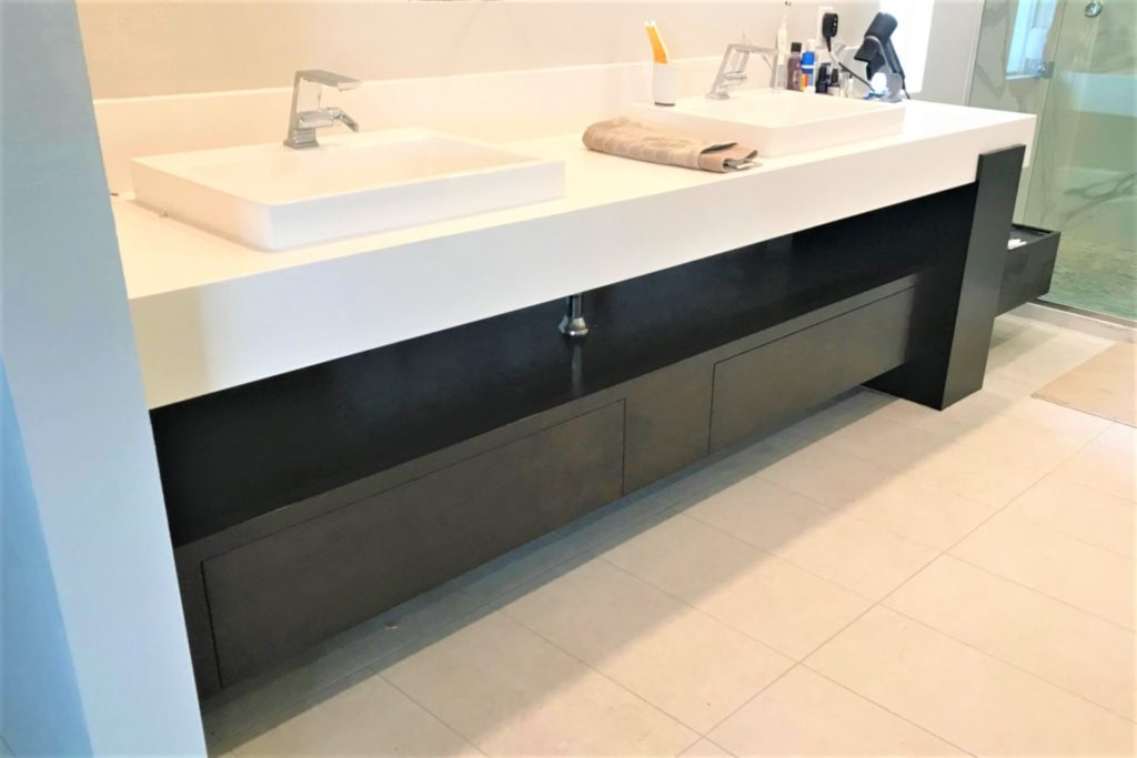 Modern style bathroom cabinets with dark finish